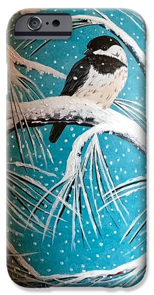 Pines Ceramics iPhone Cases - Chickadee in the Snow iPhone Case by Jennifer Lake