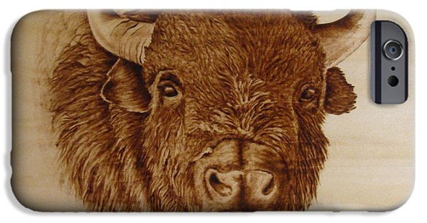 Bison Pyrography iPhone Cases - Chief iPhone Case by Jo Schwartz
