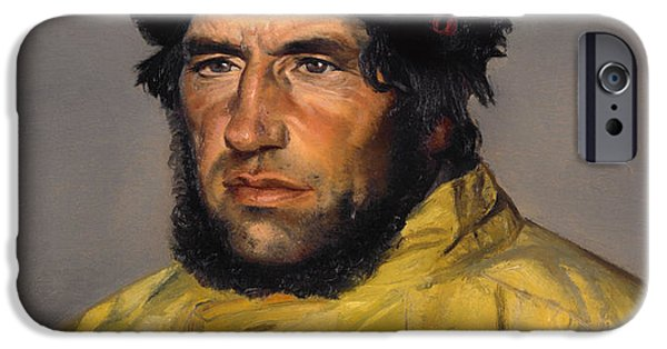 Raincoat iPhone Cases - Chief Lifeboatman Lars Kruse iPhone Case by Michael Ancher
