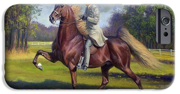 American Saddlebred Art iPhone Cases - Chief of Spindletop iPhone Case by Jeanne Newton Schoborg