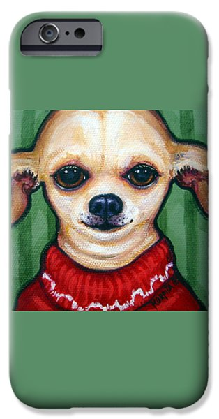 Chiwawa iPhone Cases - Chihuahua in Red Sweater - Boss Dog iPhone Case by Rebecca Korpita
