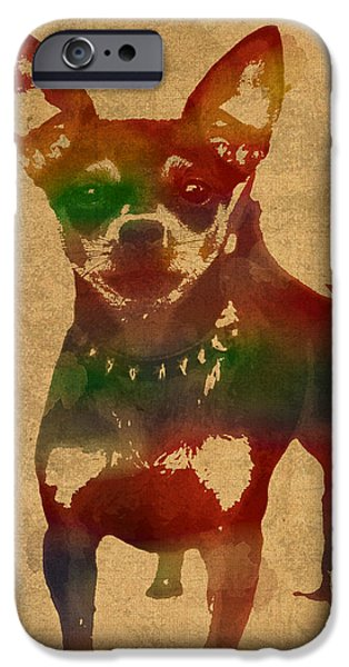 Dog Mixed Media iPhone Cases - Chihuahua Watercolor Portrait on Worn Canvas iPhone Case by Design Turnpike