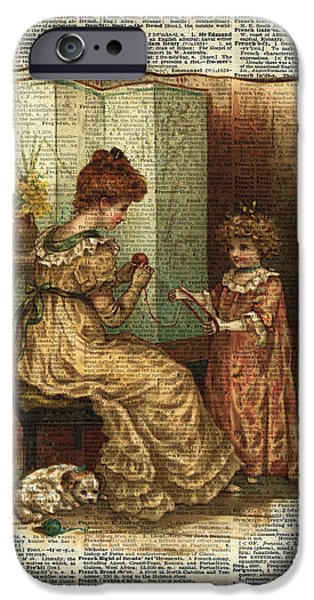 Little Girl iPhone Cases - Child Book crocheting Illustration  iPhone Case by Jacob Kuch