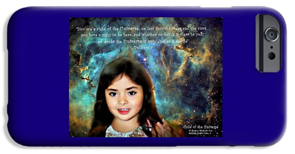 Little Girl iPhone Cases - Child of the Universe iPhone Case by Barbara Chichester
