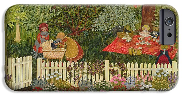 Garden Scene Paintings iPhone Cases - Children and cats iPhone Case by Ditz