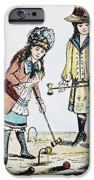 CHILDREN PLAYING CROQUET iPhone Case by Granger