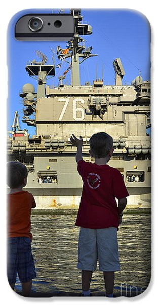 Children Wave As Uss Ronald Reagan iPhone Case by Stocktrek Images
