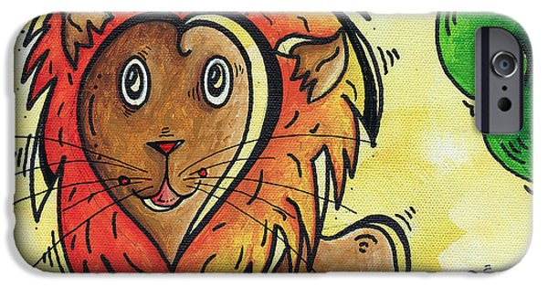Safari Prints iPhone Cases - Childrens Whimsical Nursery Art Cutie Pie by MADART iPhone Case by Megan Duncanson