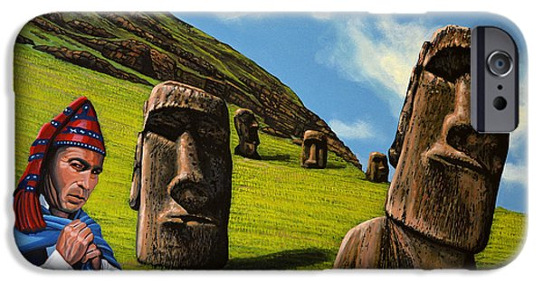 National Park Paintings iPhone Cases - Chile Easter Island iPhone Case by Paul Meijering