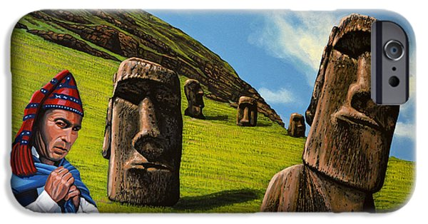 Statue Portrait Paintings iPhone Cases - Chile Easter Island iPhone Case by Paul Meijering