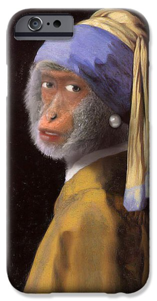 Spoof iPhone Cases - Chimp with a Pearl Earring iPhone Case by Gravityx9  Designs
