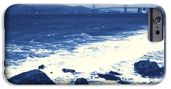China Beach iPhone Cases - China Beach and Golden Gate Bridge with Blue Tones iPhone Case by Carol Groenen