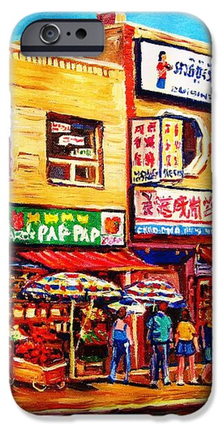 Montreal Storefronts Paintings iPhone Cases - Chinatown Markets iPhone Case by Carole Spandau