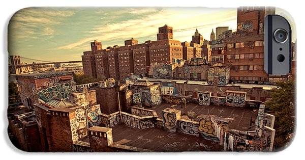 Rooftop iPhone Cases - Chinatown Rooftop Graffiti and the Brooklyn Bridge - New York City iPhone Case by Vivienne Gucwa