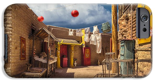 Sign iPhone Cases - Chinese Alley at Old Tucson iPhone Case by Priscilla Burgers