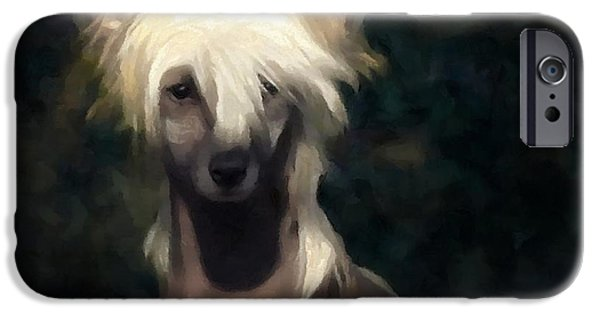 Pet Portraits Digital Art iPhone Cases - Chinese crested dog iPhone Case by Gun Legler