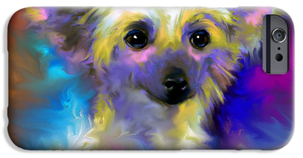 Puppies Drawings iPhone Cases - Chinese Crested Dog puppy painting print iPhone Case by Svetlana Novikova