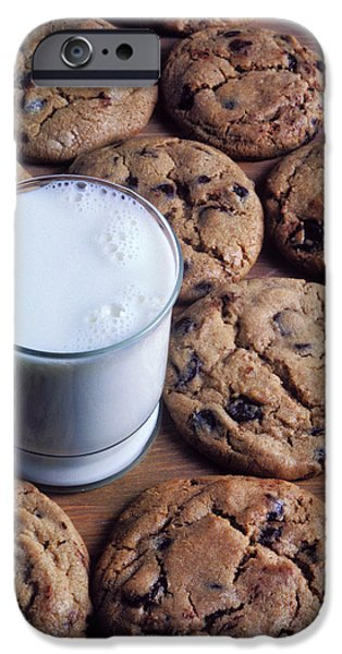Chip Photographs iPhone Cases - Chocolate chip cookies and glass of milk iPhone Case by Garry Gay