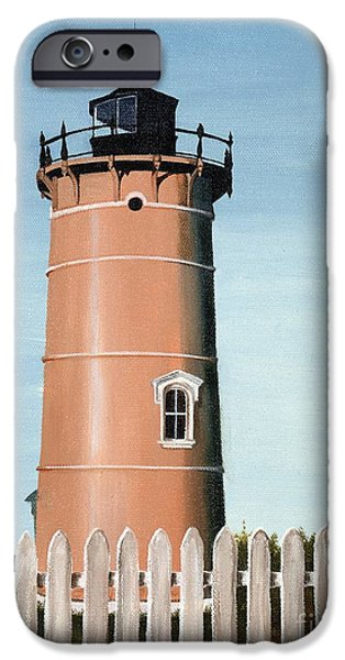 New England Lighthouse Paintings iPhone Cases - Chocolate Lighthouse iPhone Case by Mary Rogers