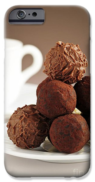 Temptation iPhone Cases - Chocolate truffles and coffee iPhone Case by Elena Elisseeva