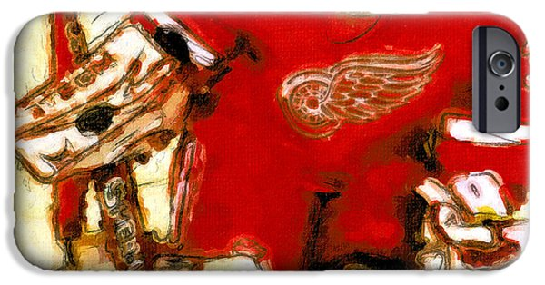 Hockey Paintings iPhone Cases - Chris Osgood Red Wing Goalie iPhone Case by John Farr