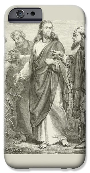 Jesus Drawings iPhone Cases - Christ and his disciples in the cornfields iPhone Case by English School