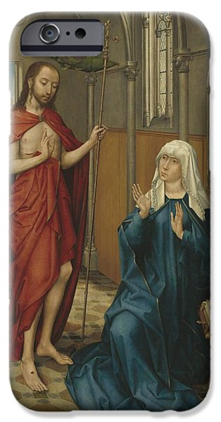 The Followers Paintings iPhone Cases - Christ Appearing To The Virgin iPhone Case by Follower Of Rogier Van Der Weyden