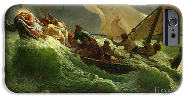 Sailing Paintings iPhone Cases - Christ Asleep in his Boat  iPhone Case by Jules Joseph Meynier