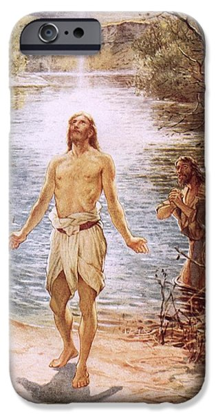 River Jordan Paintings iPhone Cases - Christ baptised by John the Baptist iPhone Case by William Brassey Hole