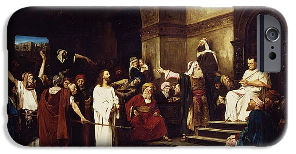 Punishment iPhone Cases - Christ Before Pilate iPhone Case by Mihaly Munkacsy
