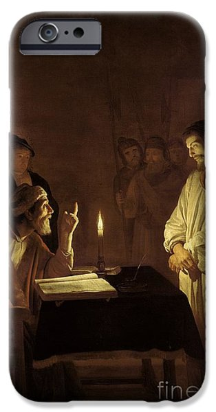 Flaming iPhone Cases - Christ before the High Priest iPhone Case by Gerrit van Honthorst