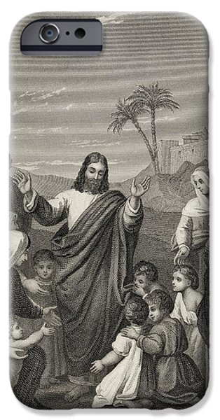 Jesus Drawings iPhone Cases - Christ Blessing The Little Children iPhone Case by Ken Welsh