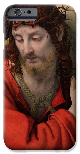 Rope iPhone Cases - Christ Carrying the Cross iPhone Case by Andrea Solario