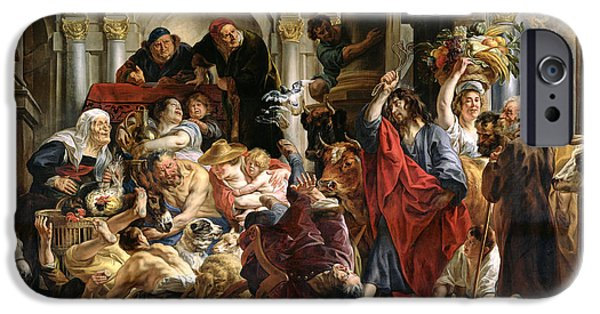 Business Paintings iPhone Cases - Christ Driving the Merchants from the Temple iPhone Case by Jacob Jordaens