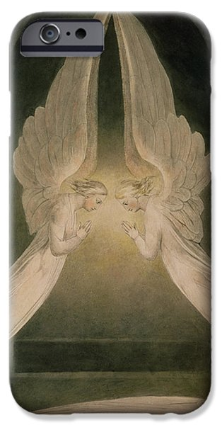 Sepulchre Drawings iPhone Cases - Christ in the Sepulchre Guarded by Angels iPhone Case by William Blake