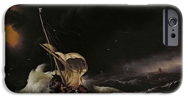 Belief iPhone Cases - Christ in the Storm on the Sea of Galilee iPhone Case by Ludolph Backhuysen
