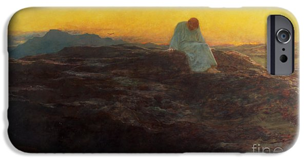 1920 iPhone Cases - Christ in the Wilderness iPhone Case by Briton Riviere