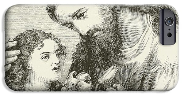 Jesus Drawings iPhone Cases - Christ receiving a child iPhone Case by English School