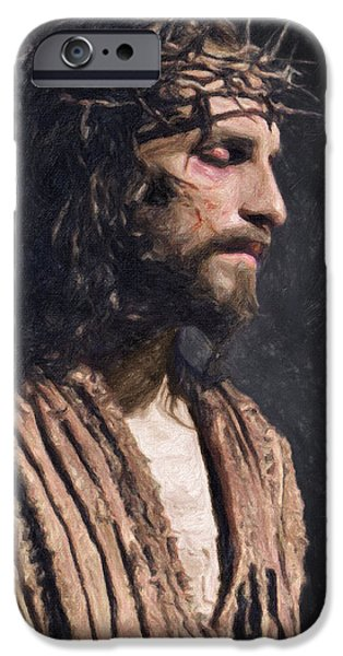 Orthodox Paintings iPhone Cases - Christ iPhone Case by Taylan Soyturk
