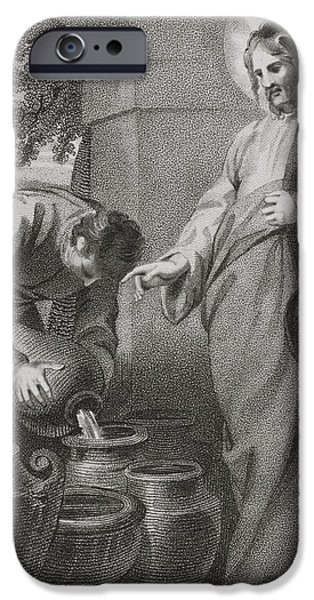 Miracle Drawings iPhone Cases - Christ Turning Water Into Wine, From iPhone Case by Ken Welsh