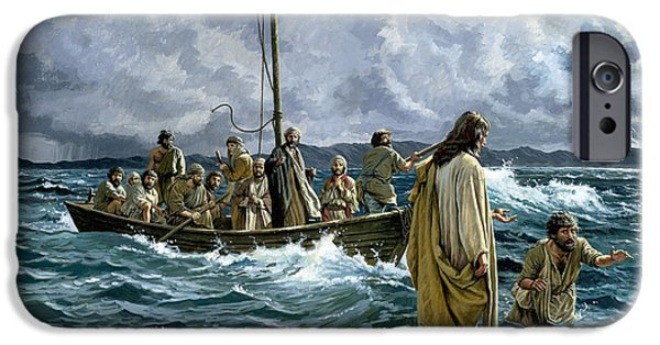 Best Sellers -  - Sea iPhone Cases - Christ walking on the Sea of Galilee iPhone Case by Anonymous