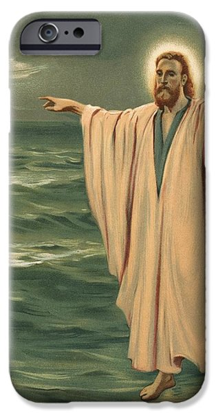 Miracle iPhone Cases - Christ walking on the sea iPhone Case by Philip Richard Morris