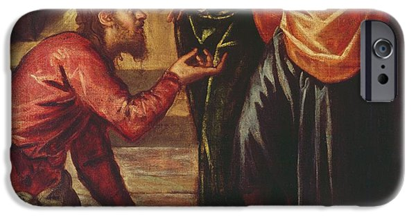 The Followers Paintings iPhone Cases - Christ Washing the Feet of the Disciples iPhone Case by Tintoretto