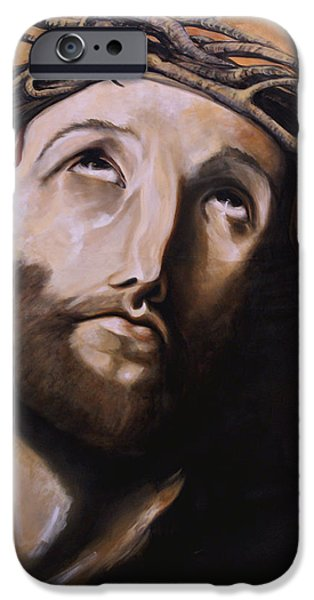 Christ with Crown of Thorns iPhone Case by Laura Ury