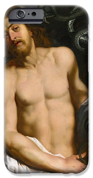 Serpent iPhone Cases - Christ with the brazen Serpent iPhone Case by Attributed to Peter Paul Rubens and Studio
