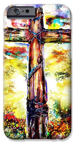 Jesus Artwork iPhone Cases - Christian Cross Art iPhone Case by Ryan RockChromatic