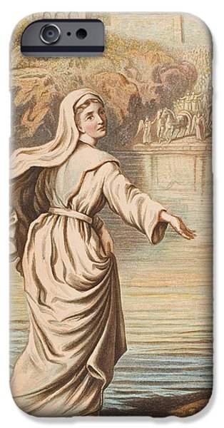 Religious Drawings iPhone Cases - Christiana Entering The River. From The iPhone Case by Vintage Design Pics
