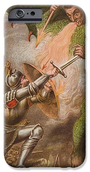 Religious Drawings iPhone Cases - Christians Conflict With Apollyon. From iPhone Case by Vintage Design Pics