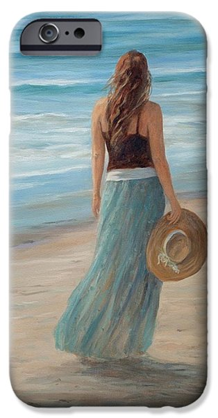 Beach Landscape Drawings iPhone Cases - Christina with Hat iPhone Case by Tina Obrien