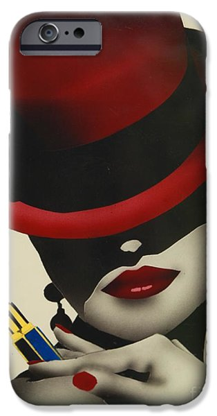 Best Sellers -  - Airbrush iPhone Cases - Christion Dior Red Hat Lady iPhone Case by Jacqueline Athmann